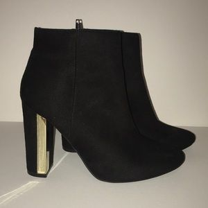 Suede Black Booties with Gold accent Heel